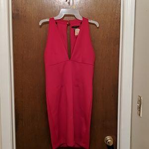 Plunging neckline red dress